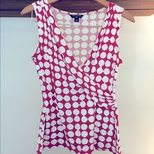 Red and White Polka Dot Plunging Wrap Top